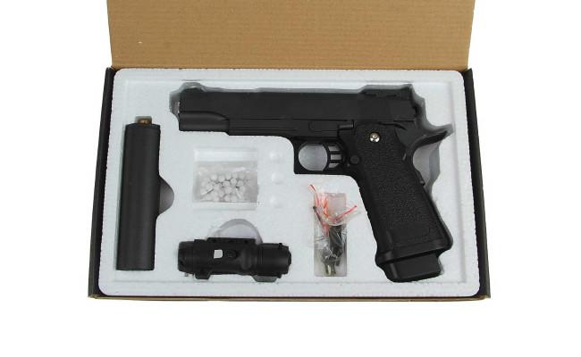 Страйкбольный пистолет G.6A COLT1911PD с глушителем и ЛЦУ (Galaxy)