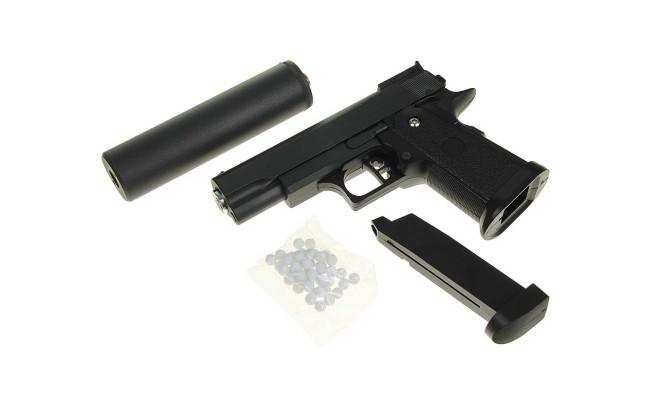 Страйкбольный пистолет G.10A COLT1911PD mini с глушителем Black (Galaxy)