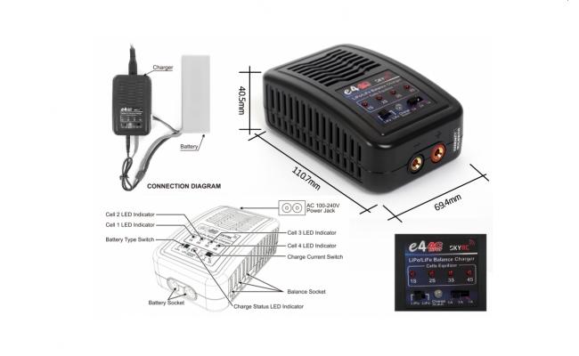 Зарядное устройство E4 для LiPo/LiFe с балансиром (SkyRc)
