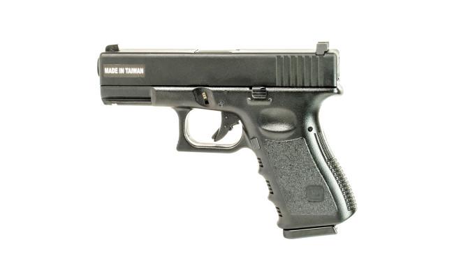 Страйкбольный пистолет Glock G23, Gas, Metal Slide, черный(KJW)