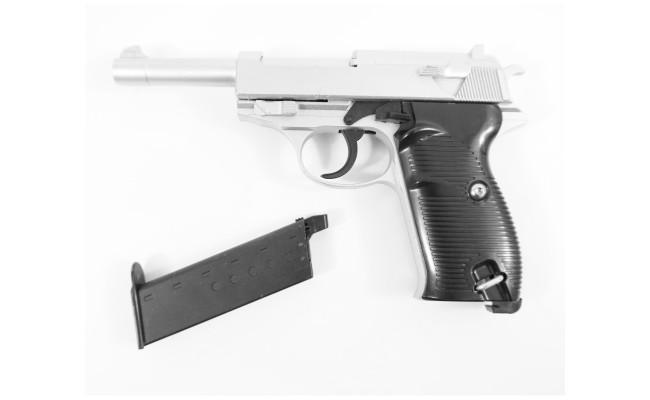 Страйкбольный пистолет G.21S Walther P38 Silver (Galaxy)