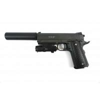 Страйкбольный пистолет G.25+ COLT1911PD Rail с кобурой (Galaxy)