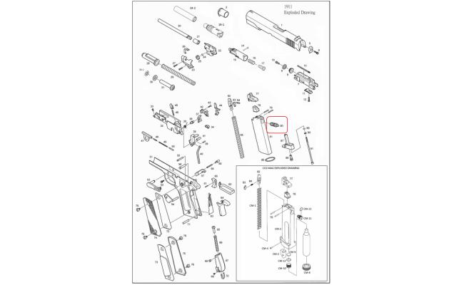 Выпускной клапан для магазина / KJW 1911 Gas Release Valve #80