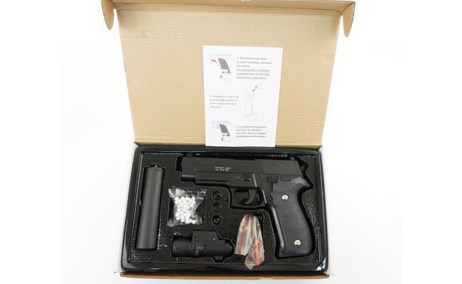 Страйкбольный пистолет G.26A SIG226l с глушителем (Galaxy)