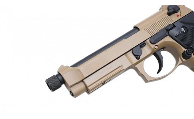 Страйкбольный пистолет M9A1 с резьбой под глушитель, CO2, песочный (KJW)