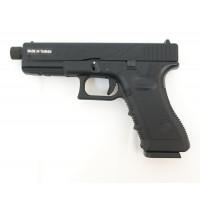 Страйкбольный пистолет Glock G17 с резьбой под глушитель, Gas, черный (KJW)