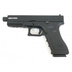 Страйкбольный пистолет Glock G17 с резьбой под глушитель, CO2, черный (KJW)