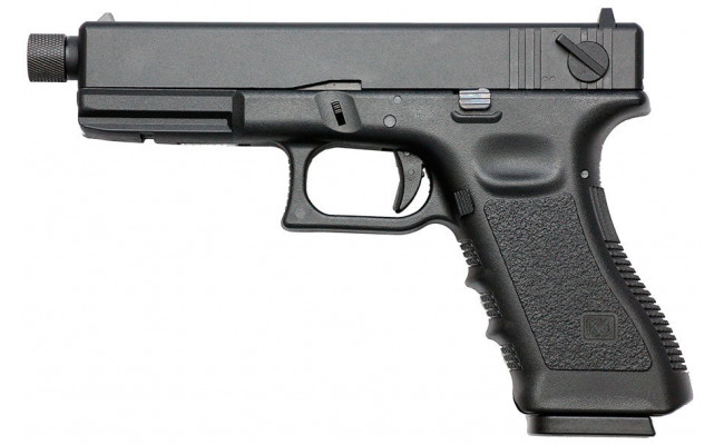 Страйкбольный пистолет Glock G18 с резьбой под глушитель, CO2, черный (KJW)