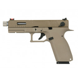 Страйкбольный пистолет CZ KP-13F с резьбой под глушитель , Gas, песочный (KJW)