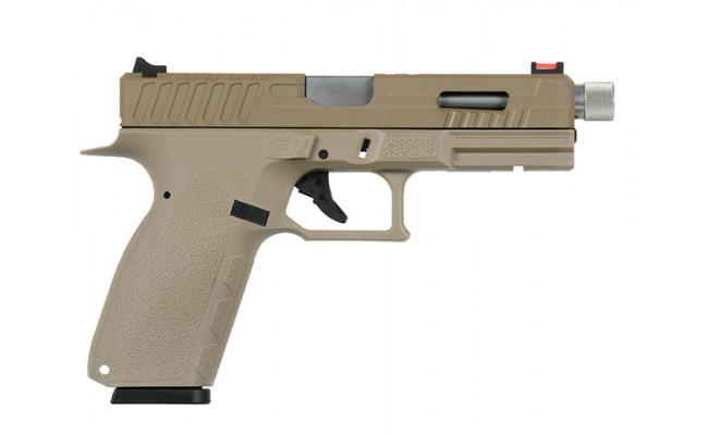 Страйкбольный пистолет CZ KP-13F с резьбой под глушитель , CO2, песочный (KJW)