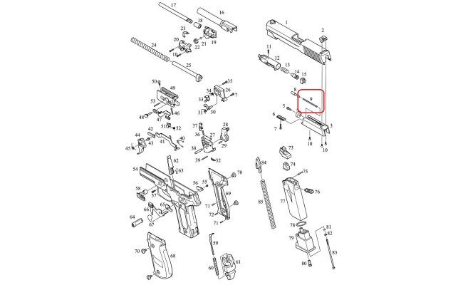 Возвратная пружина газовой камеры /KJW KP-01 SPRING RETURN C #9