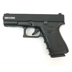 Страйкбольный пистолет Glock G23, Gas, Metal Slide, черный (уцененный) (KJW),