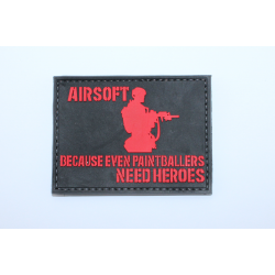 Шеврон Airsoft because even paintballers need heroes Red black